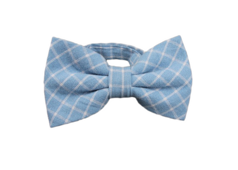 blue and white striped cotton bow tie