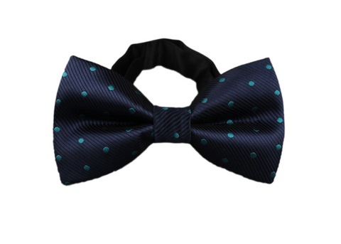 Dark blue bow tie with teal dots