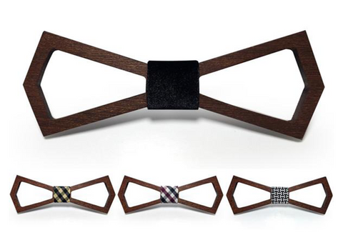 masterfully crafted Dark Wood Bamboo Fiber Bow Tie