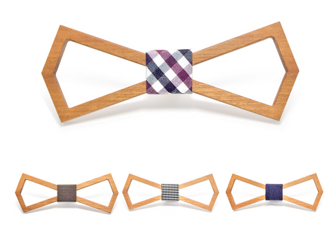 Geometric Light Wooden Bow Tie