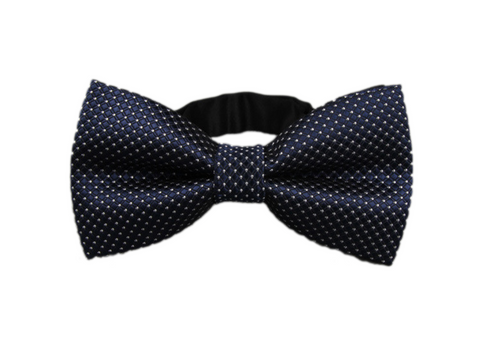Dark Blue and White Speckled Bow Tie