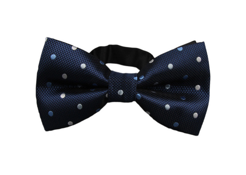 Dark Blue Bow Tie with White and Light Blue Dots