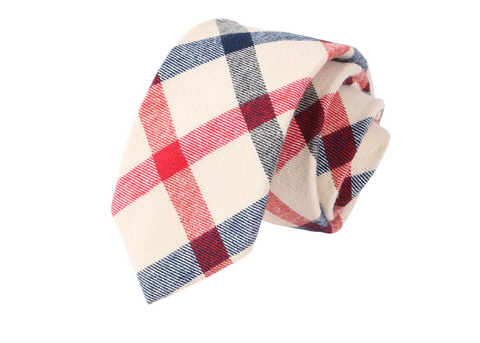 The Patriot White Blue and Red Plaid Neck Tie
