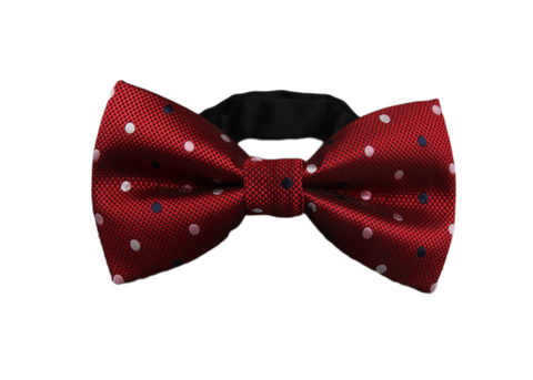 red bow tie with white and blue polka dots
