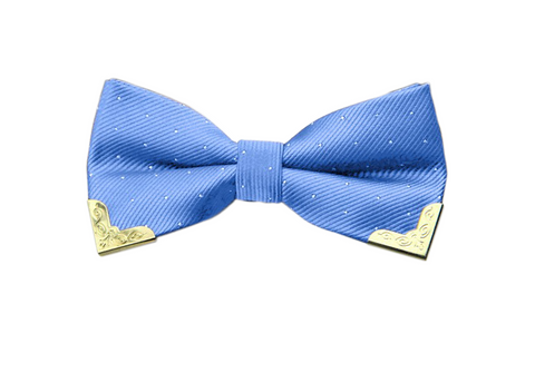 Sweet baby sky blue white dotted bow tie with gold tips