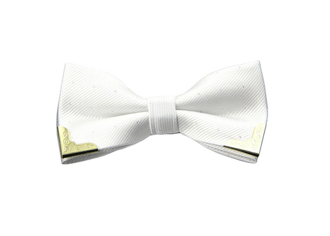 White w/ Black Dots Gold Tipped Bow Tie