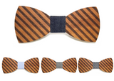 Striped Wooden bamboo fiber Bow Tie