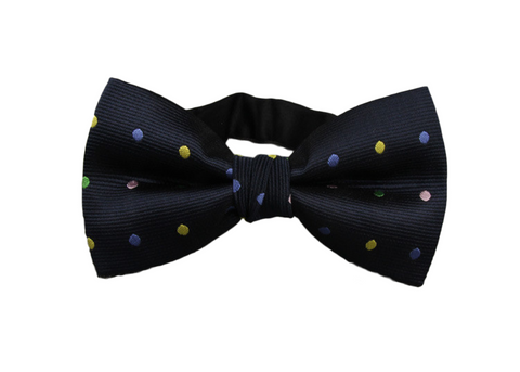 Blue Bow Tie with yellow green and teal dots