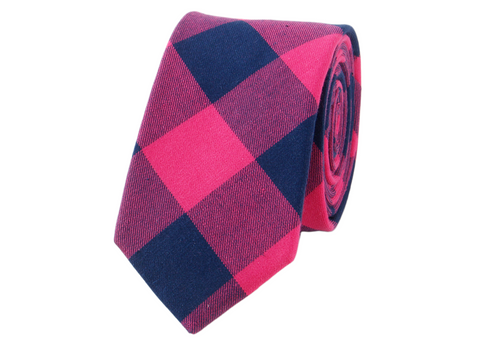 Pink and Blue plaid Cotton Neck Tie