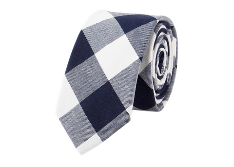 White and Dark Blue Plaid Cotton Neck Tie