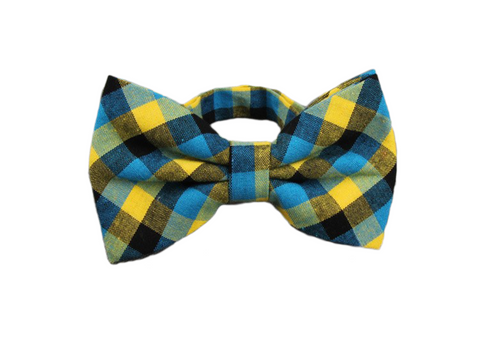 Blue, yellow, and Black Plaid Cotton Bow Tie