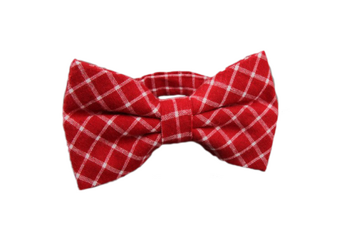 Red and White Plaid Cotton Bow Tie