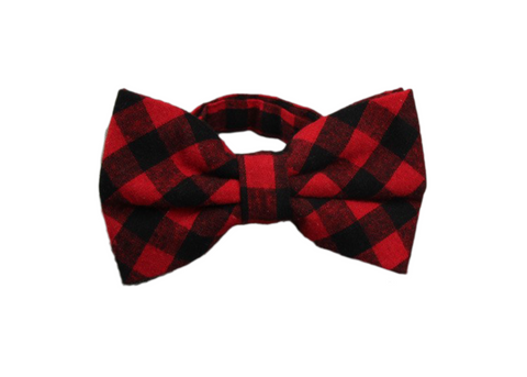 Red and Black plaid cotton bow tie