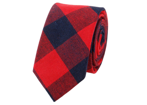 Red and dark Blue plaid cotton neck tie