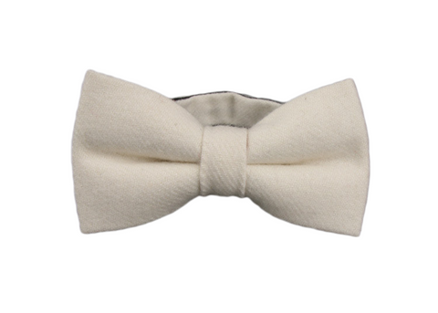 Solid White Wool Bow Tie