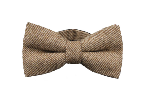 caramel colored wool bow tie