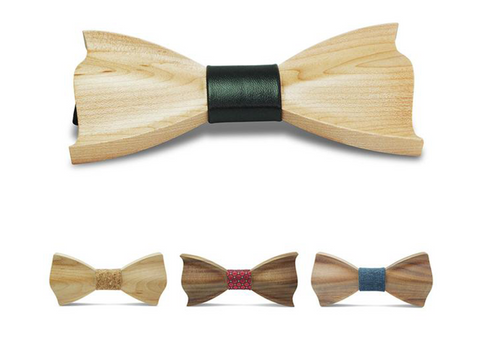 3d wooden geometric bow ties