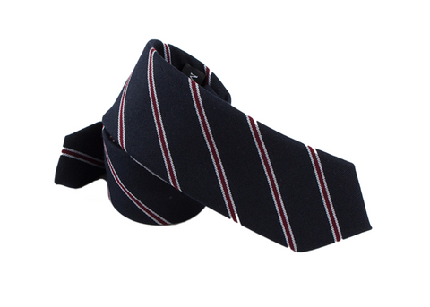 classic red, white, and dark blue striped cotton neck tie