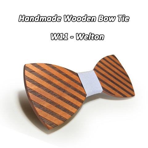 White, wooden bamboo fiber striped Bow Tie