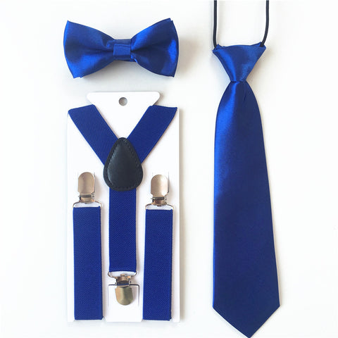Blue 3 piece fashion bundle for children, Tie. Bow tie, and Suspenders.