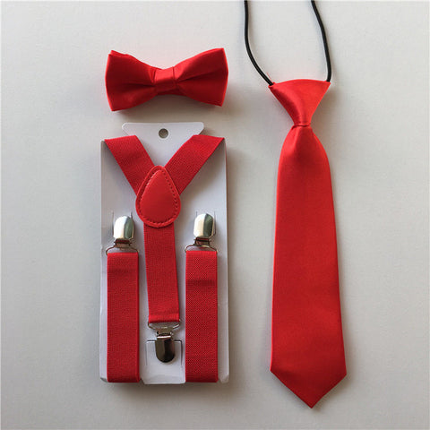 Red 3 piece fashion bundle for children, Tie. Bow tie, and Suspenders.