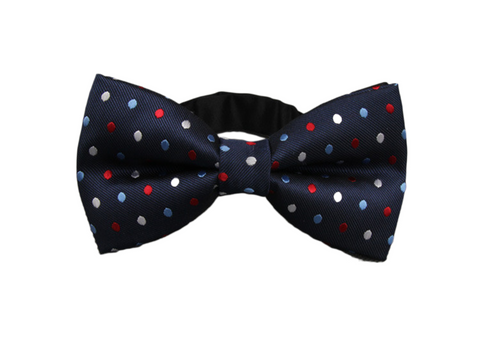 Blue Bow Tie with Red, White, and Blue Dots