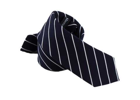 Dark Blue and White Striped Cotton neck Tie