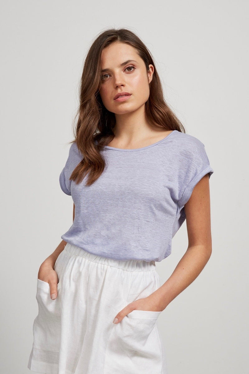 LITTLE LIES Lockie Linen Tee - Lilac