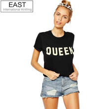 EAST KNITTING H848 2017 Summer Brand Stylish T Shirt Women QUEEN Letters Printed Casual Tshirts Tess Black Short Sleeve T-shirts