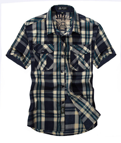 AFS JEEP Men Brand Cotton Plaid Casual Shirt High Quality Summer Lattice Fashion Loose Short Sleeve Double Pockets Dress Shirts