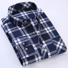 Spring Autumn 2017 Men's Long Sleeve Brushed Flannel Shirt Slim-fit Comfort Soft Cotton Blend Midweight Casual Plaid Work Shirts