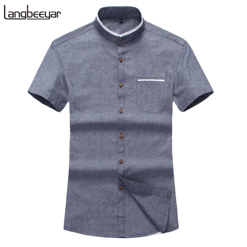 Fashion Brand Clothing Mens Short Sleeve Shirt 2017 Summer New Mandarin Collar Slim Fit Shirt M-5XL Casual Shirt Men Clothes