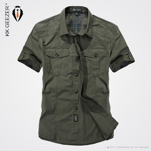 2017 Summer Military Style Men Casual Shirts Spring High Quality Cotton Solid Shirt Classic Design Breathable Brand Dress Shirts