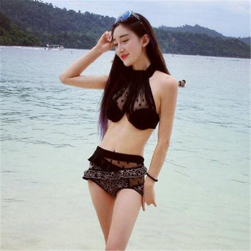 2017 Summer Hot Halter Neck Bikini Push Up Biquini High Waist Swimwear Mesh Sexy Swimsuit Women Ladies Embroidery Bathing Suit