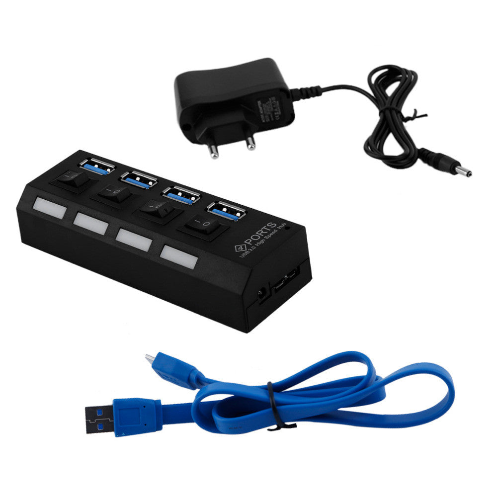 Professional Plug and Play 4 Port USB 3.0 Hub On/Off Switches & AC Power Adapter Cable for PC Laptop EU/US Plug