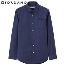 Giordano Men Shirt Camisa Masculina Brand Clothing Long Sleeves Camisas Casual Shirt Roupas Masculina Turn-down Collar Shirt