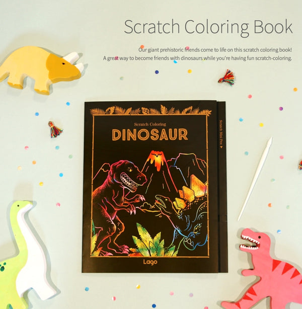 Scratch Coloring Book - Dinosaur