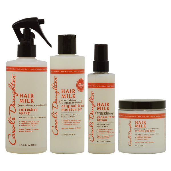 "Carol's Daughter Hair Milk Refresher Spray & Leave In Moisturizer & Lotion & Styling Pudding ""Combo"""