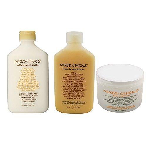 bundle - 3 items : mixed chicks sulfate-free shampoo, 10 oz & mixed chicks leave-in conditioner, 10 oz & mixed chicks deep conditioner, 8 oz