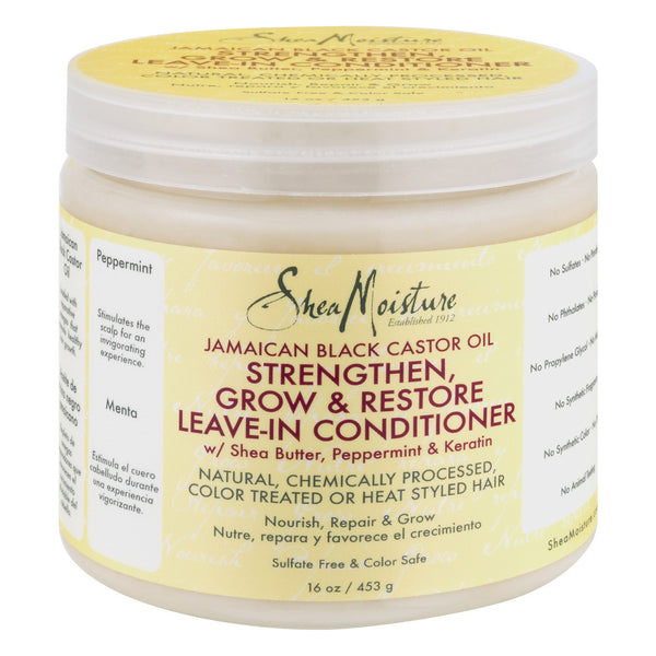 Shea Moisture Jamaican Black Castor Oil Strengthen, Grow & Restore Leave-In Conditioner, 16.0 OZ