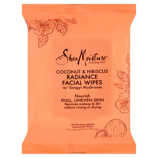SheaMoisture Coconut & Hibiscus Radiance Facial Wipes, 30 ct