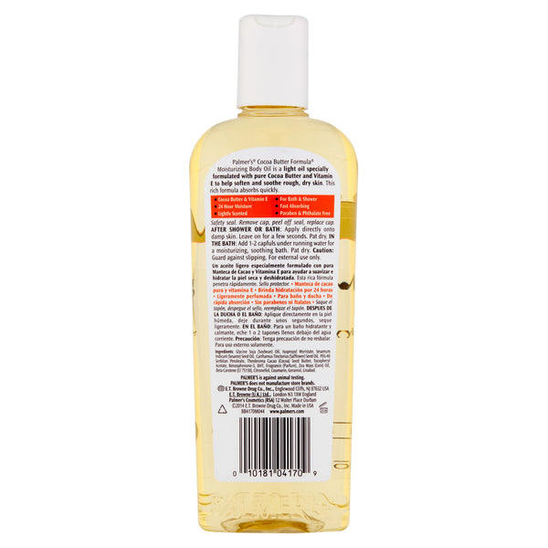 Palmer's Cocoa Butter Formula, Lightly Scented Fast Absorbing With Vitamin E Moisturizing Body Oil, 8.5 fl oz