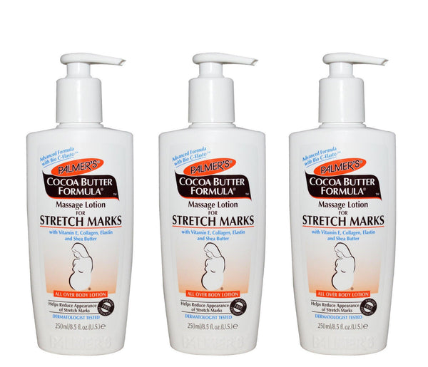 3 Pack Palmer Cocoa Butter Formula Massage Lotion for Stretch Marks, 8.5 oz Pump