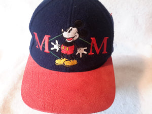 Vtg Wool Mickey Mouse Leather strapback hat Disney Store cap Walt Disney Cartoons