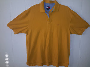 Vtg Tommy Hilfiger Yellow 90s Polo Collared Shirt Retro Preppy Dope polo sport tommy