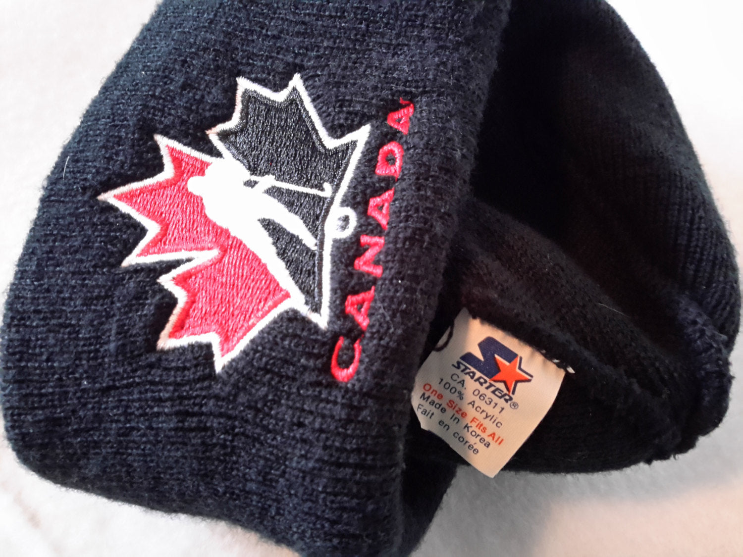 Vtg Starter  Canada NHL Cuffed Knit Beanie hat Winter cap Retro Patch 90s Style toque knit skullie