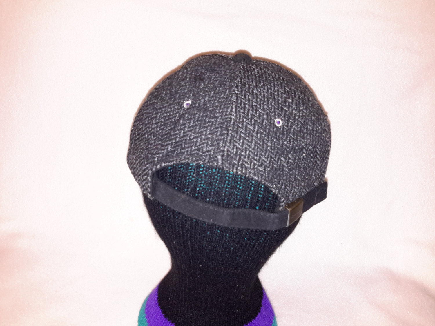Vtg Gray Wool Dad hat curved brim strapback unstructured yupong cap Winter fashion
