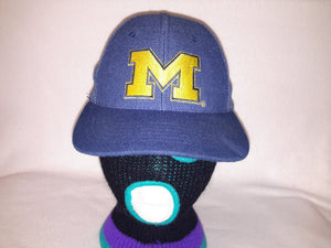 Vtg Logo 7 Michigan Wolverines snapback hat cap College Football Harbaugh  Big Blue dfd0039ed82d