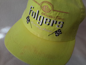 Vtg Folgers Coffee Racing Team Neon snapback hat adjustable nascar spring sale