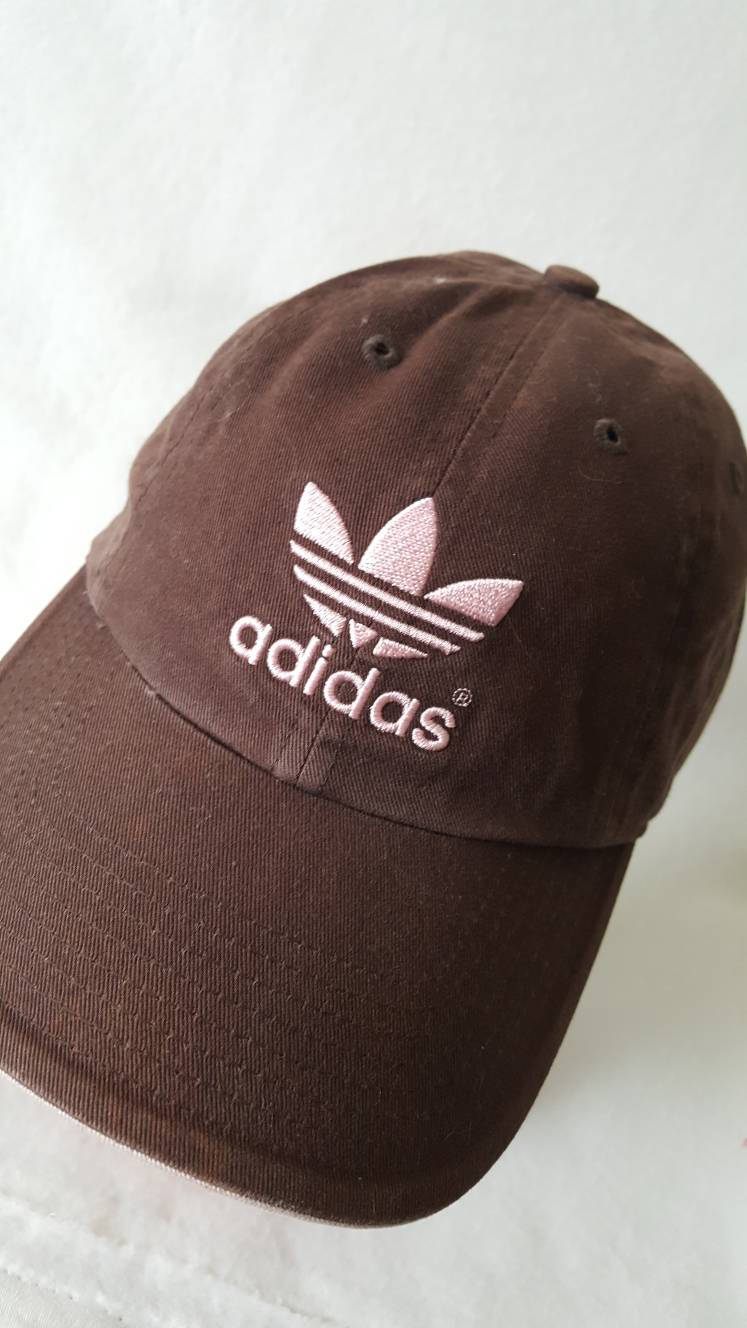 Vtg  Adidas trefoil Strapback brown pink Dad hat Yeezy Ultra Boost NMD superstar Tubular
